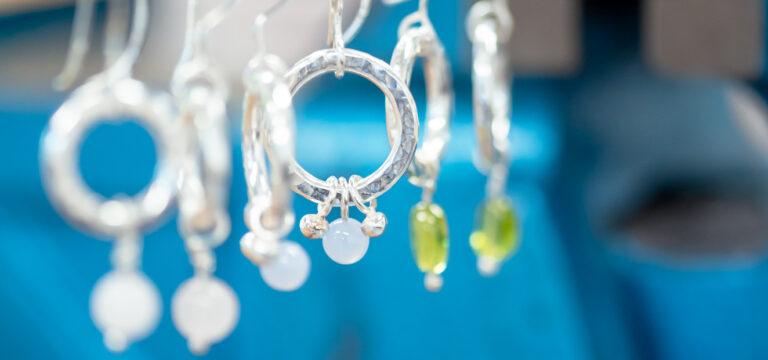 Silver earrings from earring making workshop