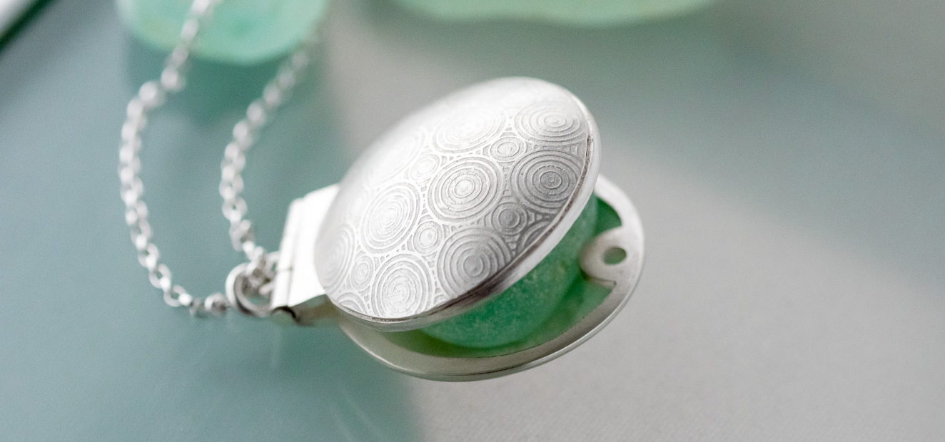 silver locket on a chain