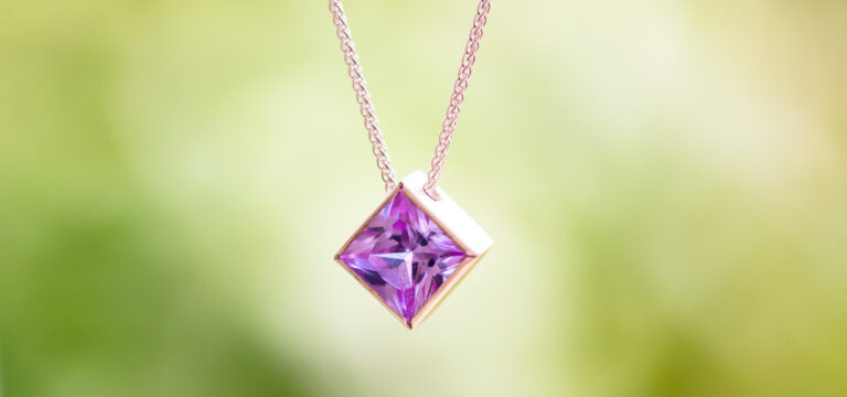Silver square faceted stone pendant